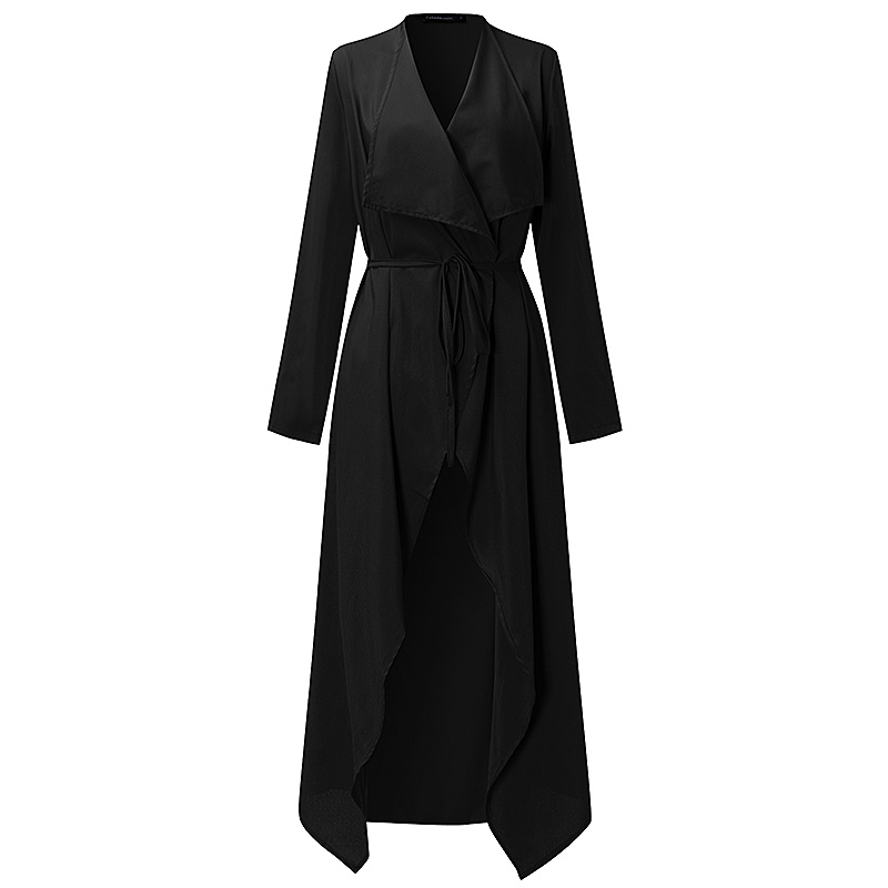 Plus Size S-3XL Women Ladies Casual Long Sleeve Slim Fit Thin Waterfall Long Belted Cardigan Duster Coat Jacket Overalls Outwear 3