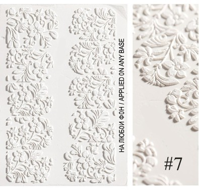 1pc 3D Acrylic Engraved Flower Nail Sticker Embossed Flower Nail Water Decals Fashion Empaistic Nail Water Slide Decalsi Z068