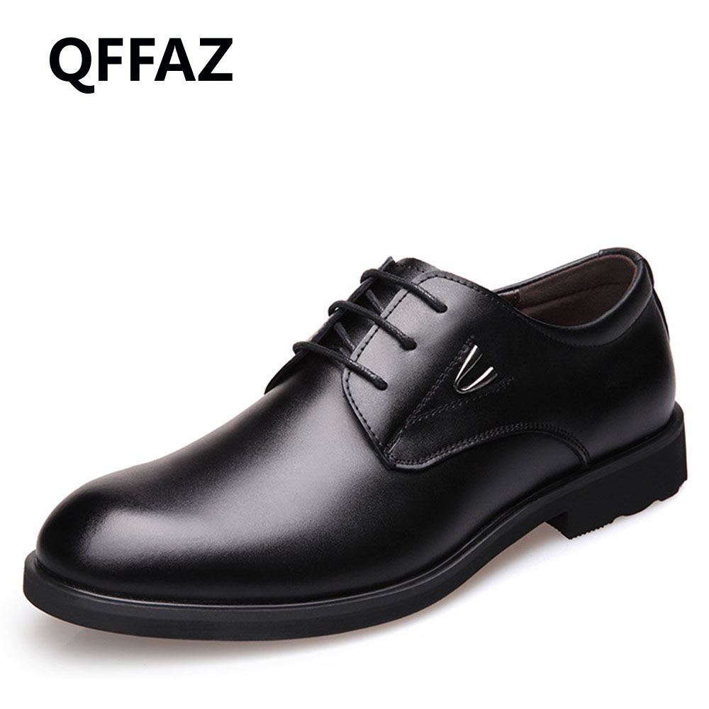 QFFAZ Fashion Men Dress Shoes Pointed Toe Lace Up Men's Business Casual Shoes Brown Black Leather Oxfords Shoes Big Size 45 46 patent leather men s business pointed toe shoes men oxfords lace up men wedding shoes dress shoe plus size 47 48