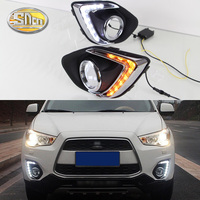 For Mitsubishi ASX 2013 2014 2015 Daytime Running Light LED DRL fog lamp Driving lights Yellow Turn Signal Lamp