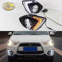 For Mitsubishi ASX 2013 2014 2015 Daytime Running Light LED DRL fog lamp Driving lights Yellow Turn Signal Lamp