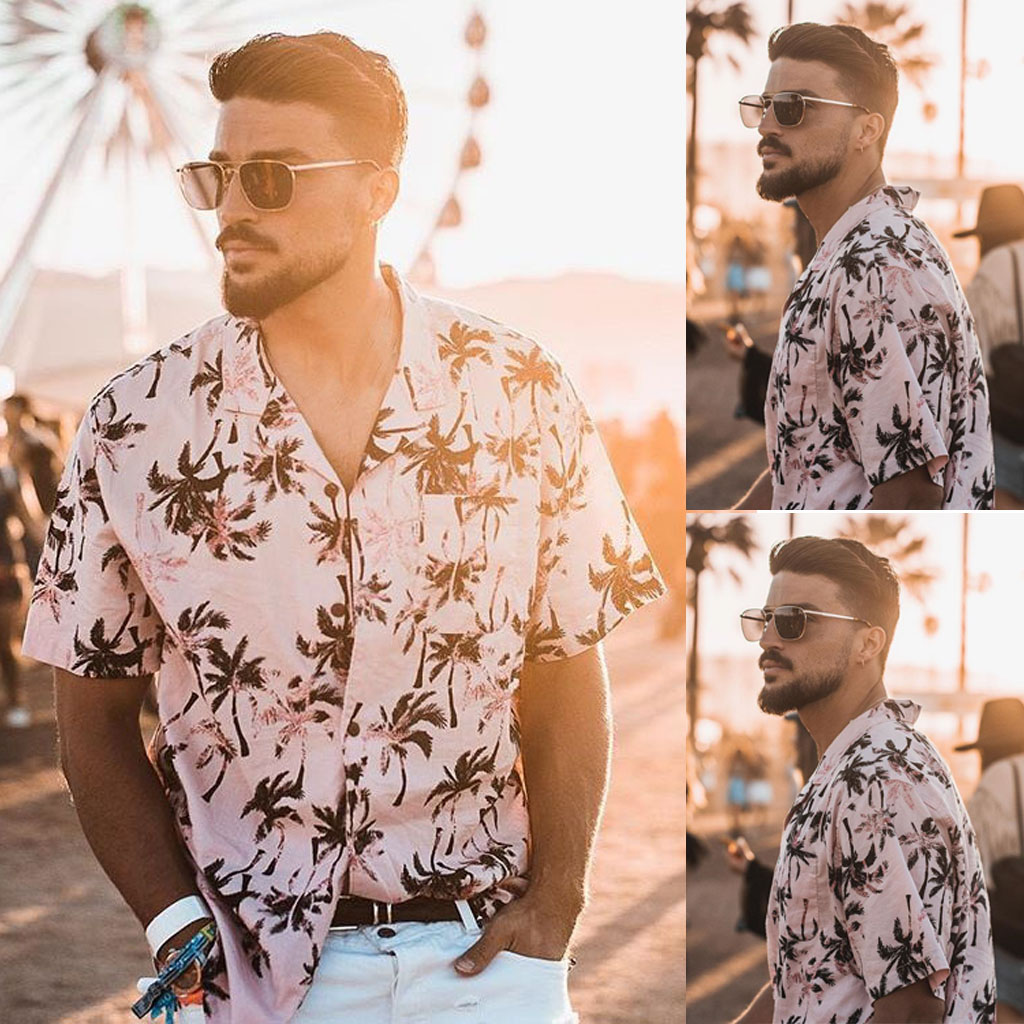 Men's Summer Fashion Casual Lapel Leopard Short Sleeve Shirt Top Blouse Camisa Masculina Plus Size