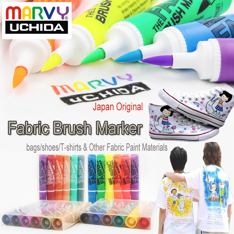 Marvy Graffiti Fabric Brush Markers Water Resistant Clothing Marker Dry Fasting Permanent Textile Coloring Pens on Bags veiling hengfang 52135 princess style water resistant eyeliner gel w brush black