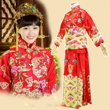 Vintage Republican Bride and Groom Wedding Costume XiuHeFu for 2015 New TV Play Live Flesh Huo Se Sheng Xiang