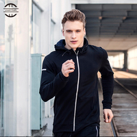 High Elastic Running Jacket Men Breathable Quick Drying Running Jersey Windproof Coat Outdoor Sports Hiking Run Hooded Sport Top