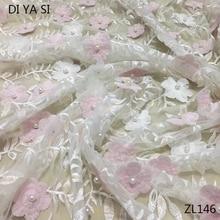 2018 high quality cotton lace heavy beading handmade 3D flowers feather rendas para artesanato de todos os tipos