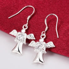 Good quality Fairy Angel Fashion Jewelry 925 stamped silver plated drop earrings Nickel Free Crystal SWA Elements(China)
