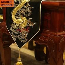 Chinese Style Classical Dragon Gold Black Embroidery High Grade Table Runners Bed Runner Dinning Room Decoration