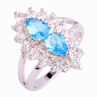 New  Brilliant Blue Topaz 925 Silver Ring Size 6 7 8 9 10 Wholesale Free Shipping For Women Gift Jewelry