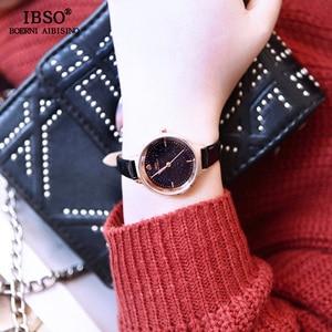 Image 3 - IBSO אופנה הניצוץ חיוג עיצוב שעונים לנשים עור רצועת שעון באיכות גבוהה נשים קוורץ שעון