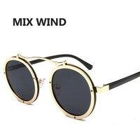 Mix Wind Metal Retro Round Frame Sunglasses 2017 Fashion Face 7 Color Reflective Sunglass Women Mirror