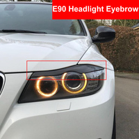 2PCS Car Styling Accessories Real Carbon Fiber Headlight Eyebrows Eyelids Trim For BMW E90 E91 4DR 2005 2011 Car Stickers High