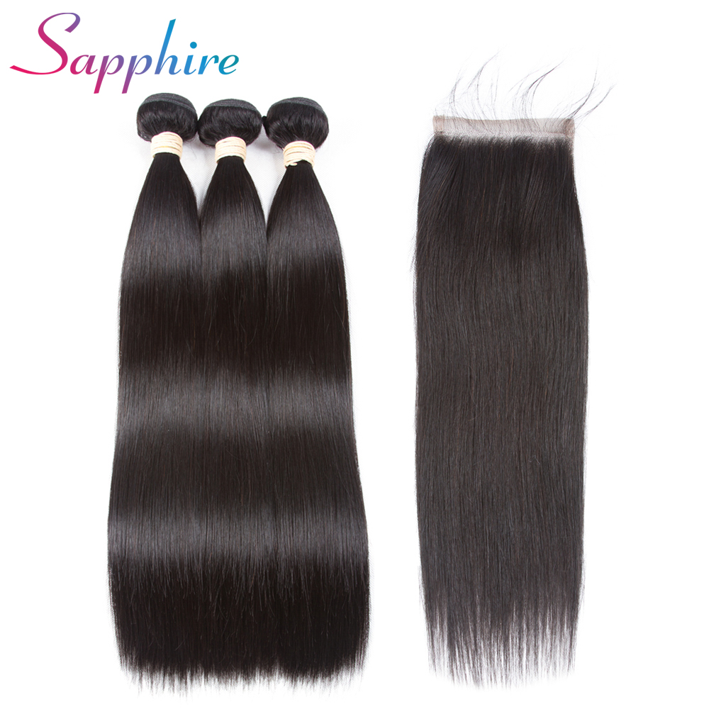 SAPPHIRE Straight Hair Bundles With Closure Brazilian Hair Weave - Menneskehår (sort)