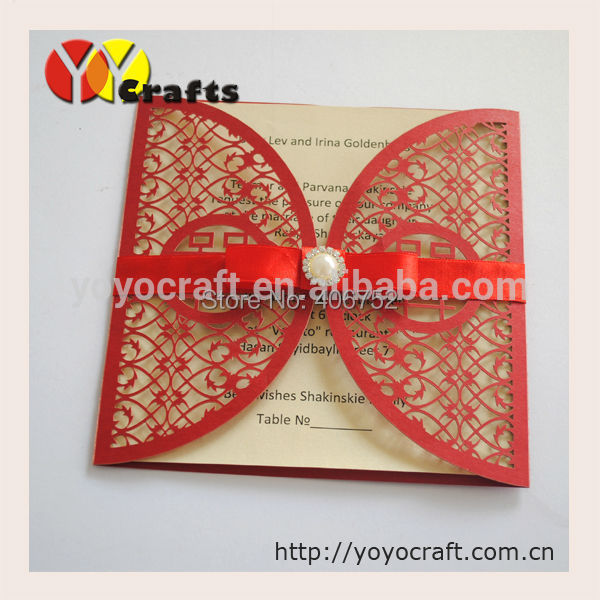 Chinese Style Wedding Invitation Card, Red Double Happiness Shaped Wedding  Invitations Card With Laser Cut