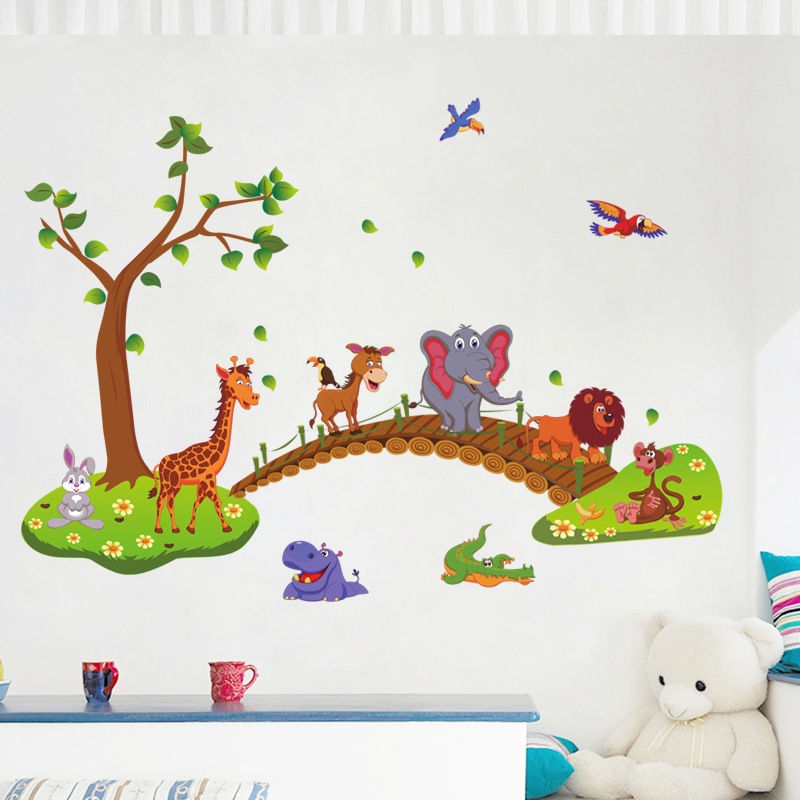 Mayitr Removable Cute Elephant Cartoon Animals Wall Stickers Baby Nursery Kids Room Decor Decal Stickers