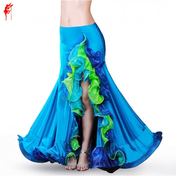 professional skirt girls belly dance clothes senior women belly dance spandex split belly dance dress lady