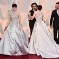 2015 Oscar Felicity Jones Red Carpet vestidos de cuello alto con cuentas apliques satinado vestido de bola vestidos de la celebridad