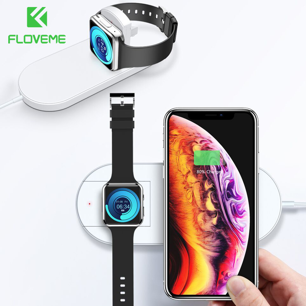 FLOVEME Wireless Charger For iPhone XR XS MAX X 8 QI Wireless Charging Pad For Apple Watch 2 3 USB Charger For Samsung S8 S9 S10FLOVEME Wireless Charger For iPhone XR XS MAX X 8 QI Wireless Charging Pad For Apple Watch 2 3 USB Charger For Samsung S8 S9 S10