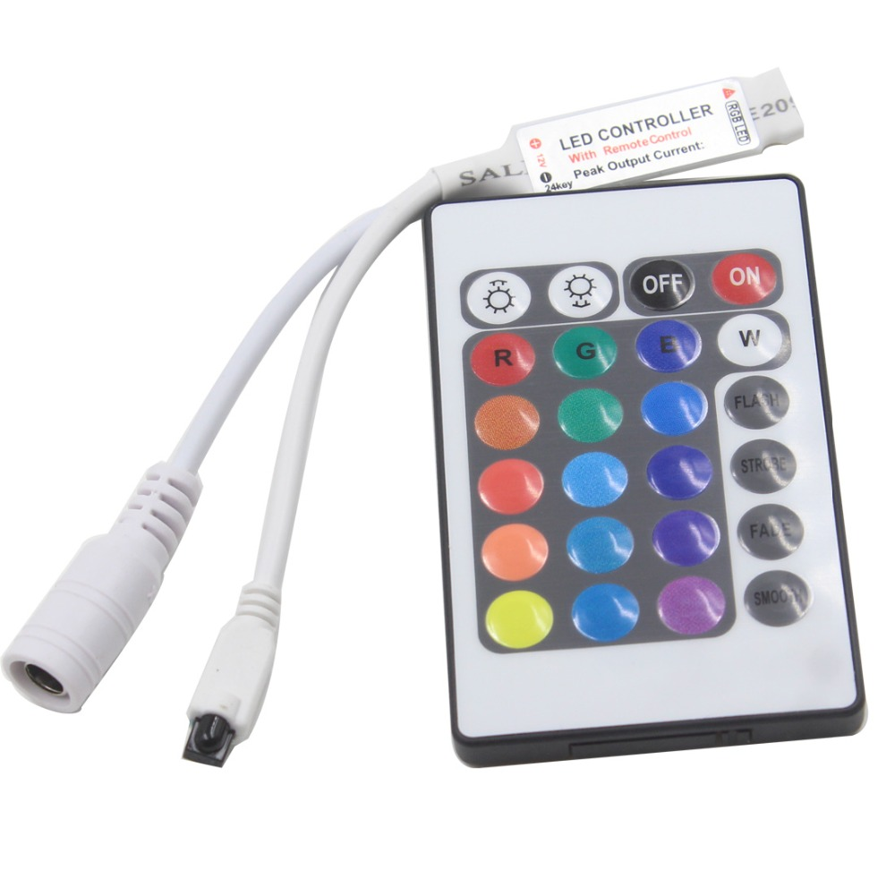 Led Controller 24 Keys LED IR RGB Controler Box 1 To 2 Controller IR Remote Dimmer DC12V For RGB 3528 5050 LED Strip Lights