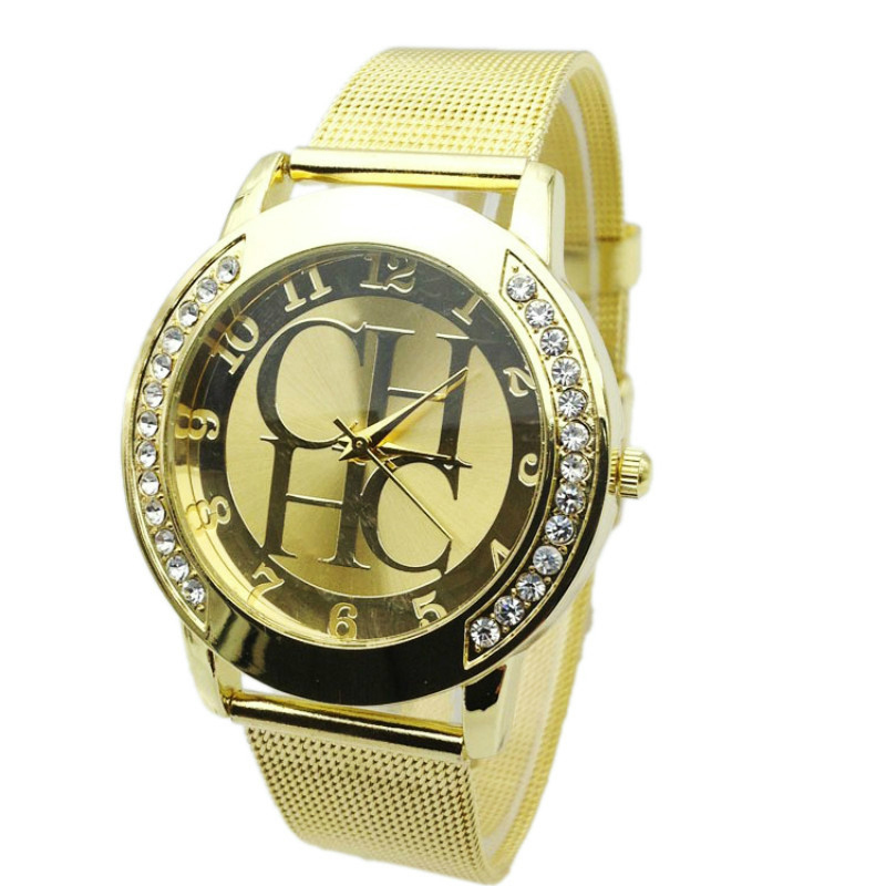 2018 New Brand Hot Gold Crystal Casual Quartz H Watch Women Metal Mesh Stainless Steel Dress Watches Clock Relogios Femininos