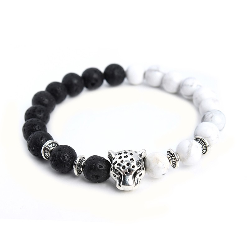 Tibetan Leopard Head Bracelet With Black Lava Stones & White Howlite Stones