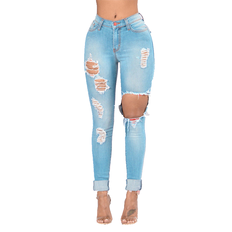 Women  Hole Out Boyfriend Jeans Trousers Hot Destroyed Ripped Distressed Slim Denim Jeans