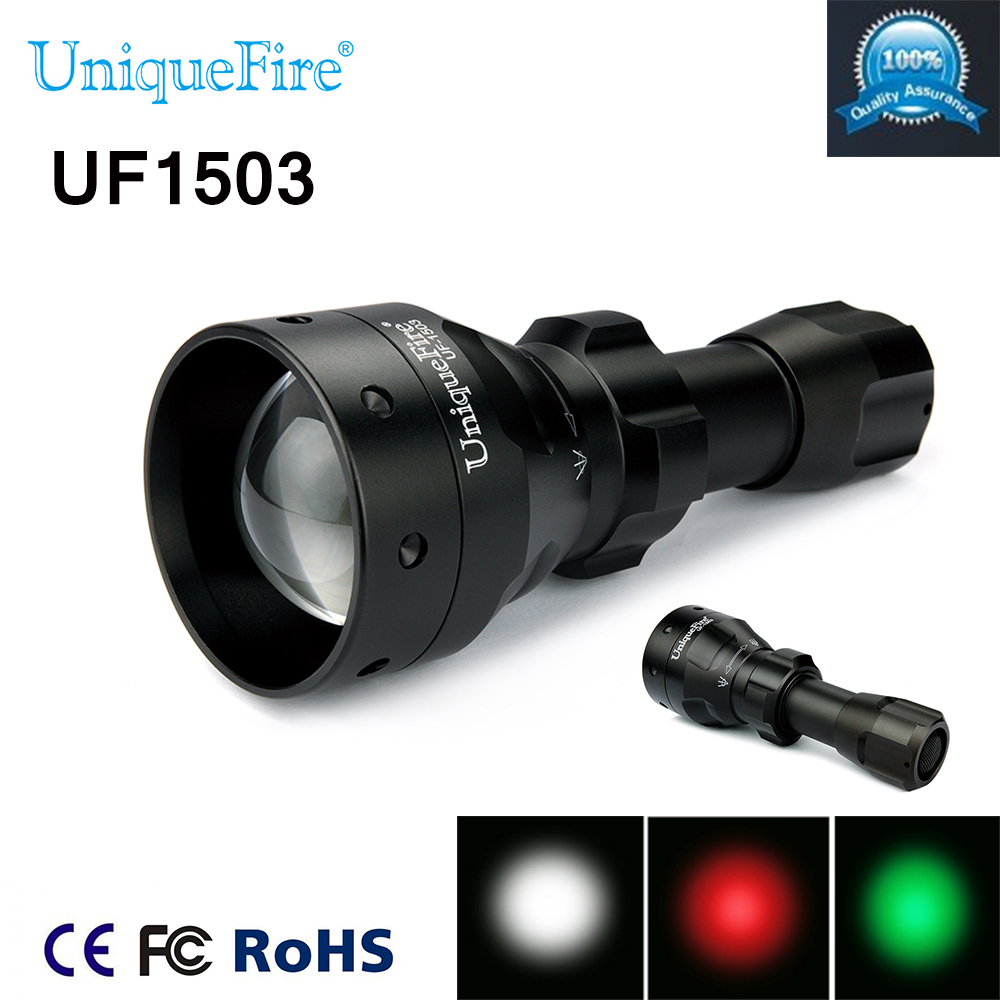 Led Hunting Flashlight Uniquefire Green/Red/ White Light  UF-1503 XPE Torch Alumium Metal For Outdoor Camping Free shipping perfect rifle hunting flashlight uf 1508 ir850nm t38 zoomable powerful torch xre red light lamp holder helpful for night hunting