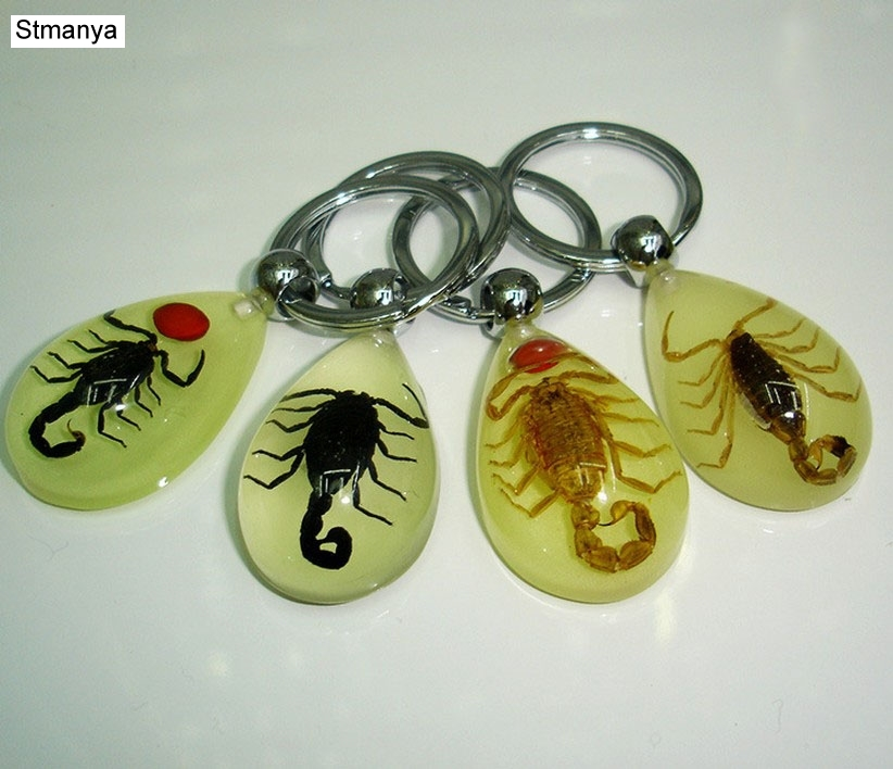 10 keychain handmade real black gold scorpion charming colorful jewelry