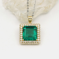 AAA Solid 10K Yellow Gold Emerald Cut Pendant 6ctw Double Halo Moissanite Side Stones Lab Diamond Pendant Necklace for Women
