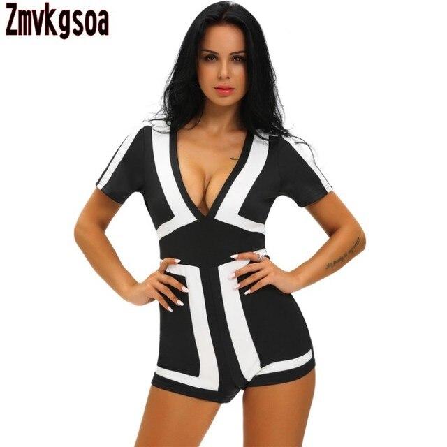 47e3f5697781 Zmvkgsoa Sexy jumpsuits For Women 2018 Summer Short Sleeve Classic Color  Block Black Back Romper Women s Shorts Bodysuits V64063