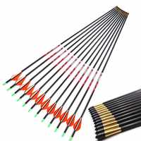 12ps 30 inches ID 4.2mm Pure Carbon Arrow Spine 350 400 With 2 inch Vantec Feather +-0.001 Straightness for Recurve Compound Bow