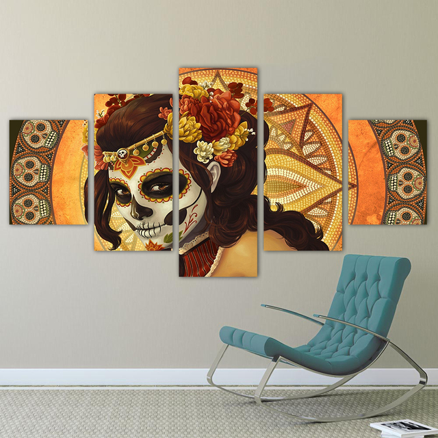 Hd 5 Pieces Wall Art Canvas Painting Sugar Skull Face Home Decor For Living Room Poster