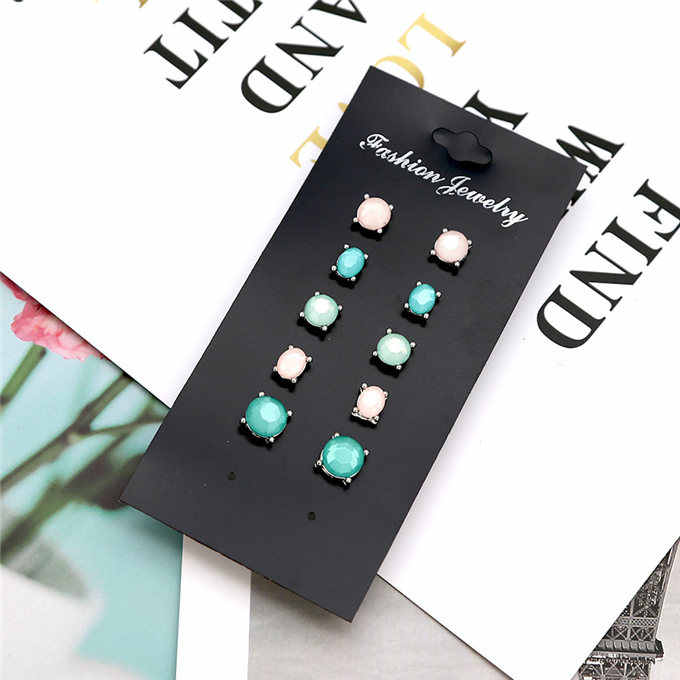 5 pair /set Fashion women jewelry wholesale girls birthday party flower pearl ear stud mix and match pretty earrings gift