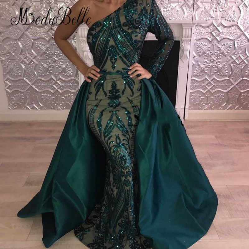 Modabelle сексуальное блестящее отстегивающееся платье для выпускного с блестками Зеленое Длинное Вечернее Платье из Саудовской Аравии 2018 платье из Дубая Soiree Kaftane