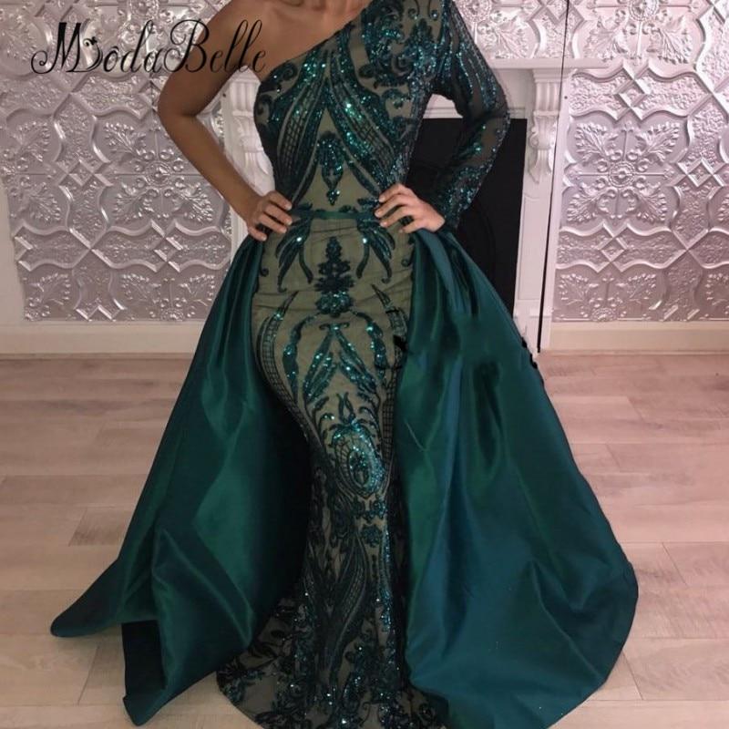 modabelle Sexy Sparkly Detachable Train Prom Dresses Sequin Green Long Saudi Arabic Formal Dress 2018 Robe Dubai Soiree Kaftane