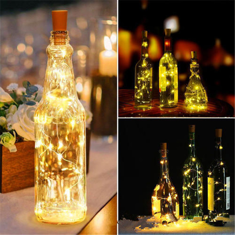 Copper String Light With Bottle Stopper 1m/2m Cork Shaped Wine Bottle Lights Decoration For Alloween Christmas Holiday Party