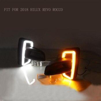 2 sztuk światła do jazdy dziennej LED pasuje do Hilux Revo Rocco 2018 2019 włącz żółty przekaźnik sygnału samochód 12 V LED DRL światła dzienne