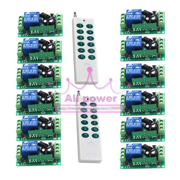 DC12V RF Wireless Switch Wireless remote control system 2transmitter+12receiver 10A 1CH Toggle Momentary Latched Learning Code ih hotels milano lorenteggio ex idea hotel milano lorenteggio 4 милан
