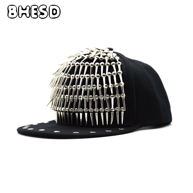 BHESD Women Studded Black Punk Hat Flat Baseball Cap Men Rivet Snapback Hip Hop Hat Rivets Cap Bones Casquettes Gorros JY698 new 2017 hats for women mix color cotton unisex men winter women fashion hip hop knitted warm hat female beanies cap6a03