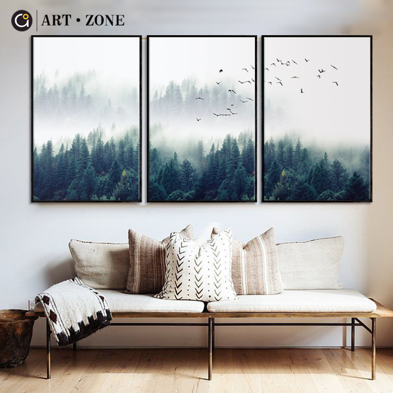 Artwork Zone Nordic Forest Panorama Wall Artwork Canvas Poster Print Canvas Portray Ornamental For Residing Room Dwelling Decor Poster
