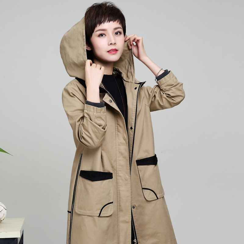 Trench   coat for women with hood 100% cotto plus size 4XL casual full sleeves long section zipper solid color female windbreaker