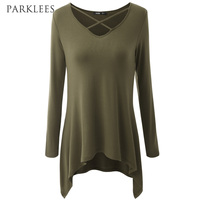 Women T Shirts Long Sleeve V Neck Bandage T Shirts Women Euopean Style Solid Color Tee