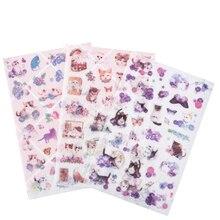 20パック/ロットかわいい日本と風猫装飾スクラップブッキングステッカーdiy日記アルバムステッカーラベル卸売