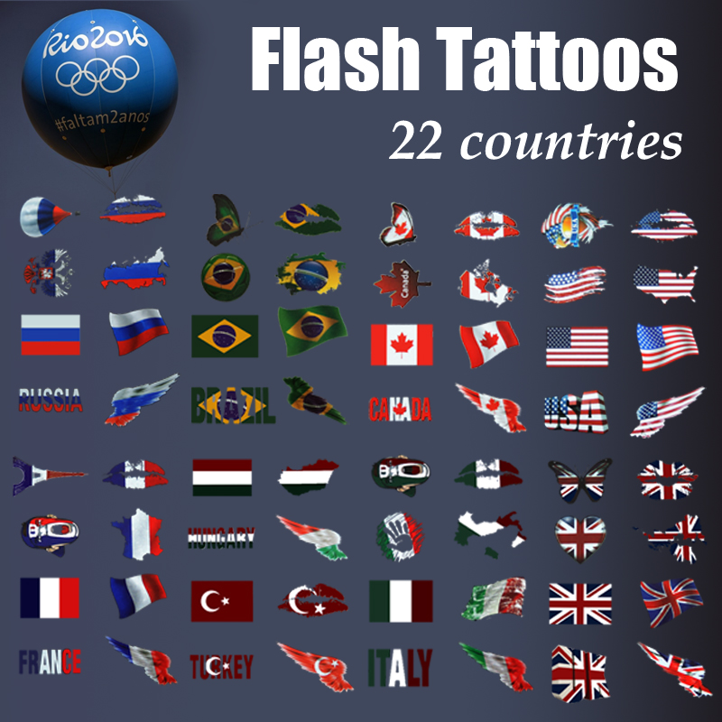 YiTing Football tattoo World Cup country fans temporary flag tattoo stickers Olympic football basketball fans sticker tattoo