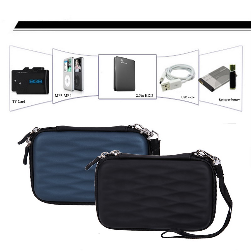 flowcross Portable Wave Hard EVA PU Carrying Case Bag External Hard Drive Protect Case Bag For 2.5 inch Portable External HDD