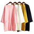 2017 ulzzang Menina Casual Longo de Malha Cardigan Outono Mulheres Coreanas Bolso Cor Sólida Solto Camisola Projeto Casaco Rosa Bege