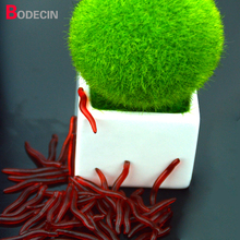 50PCS 3.5cm Artificial Red Worms Simulation Earthworm For Fishing Lure Tackle Soft Bait Lifelike Fishy Smell Lures Baits Shad