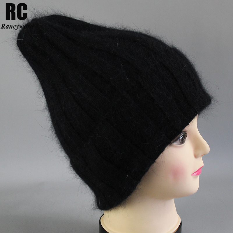 [Rancyword] Thick Winter Hats For Women angora   Beanies   Hat knitted wool warm   Beanie   With Back Opening 2018 New RC2055