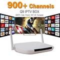 Mejor Caja del IPTV Árabe Q9 Plus con QHDTV 900 + Europa Francés italia Africano Serbio Turquía IPTV Canales de televisión de Paga Smart Set top box