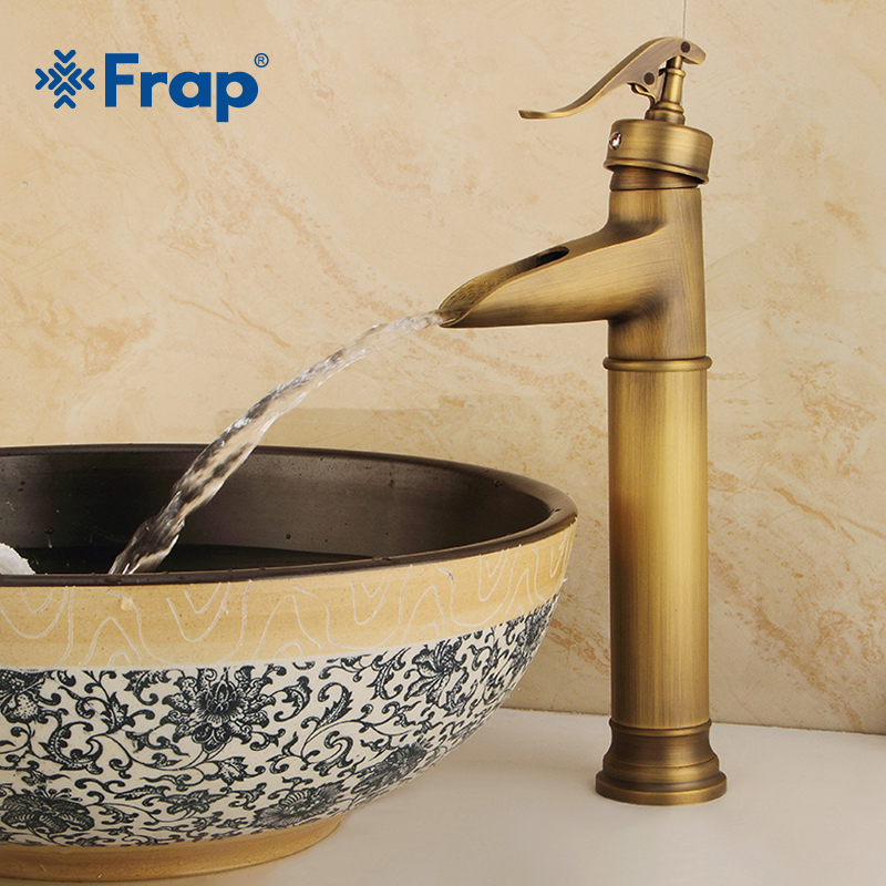 FRAP Basin Faucets Retro Bathroom Sink Mixer Deck Mounted Single Handle Single Hole Bathroom Faucet Brass Hot and Cold TapY10074 antique brass basin faucets bathroom sink mixer deck mounted single handle single hole bathroom faucet brass hot and cold tap
